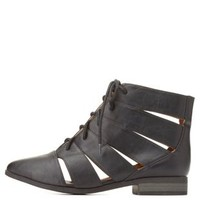 Qupid Cut-Out Lace-Up Booties by