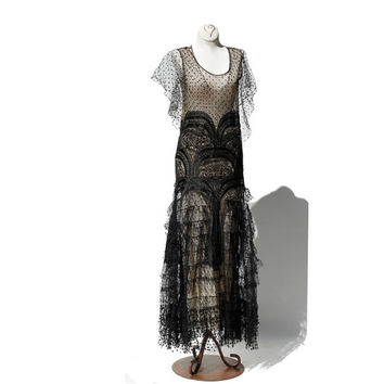 20's Black Lace Nude Illusion Flapper Dress