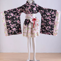 Long Sleeves Flowery Japanese Dress Kimono Lolita Dresses