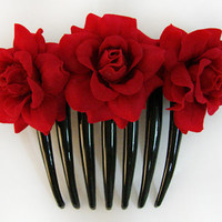 Red Velvet Rose flower Hair Comb