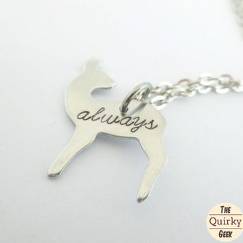 Always - Lilly - Snape - Harry Potter Inspired Doe Necklace - Hand Stamped Necklace