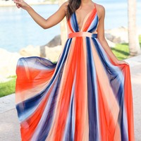 Orange Striped Maxi Dress