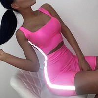 2019 new women's sexy navel vest street reflective suit two-piece Pink
