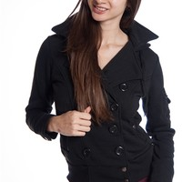Double Breasted Hooded Fleece Jacket - Black