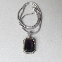 Beauty! Chunky Dark Amethyst & Marcasite Sterling Pendant, Heavy Wheat Chain Vintage Necklace