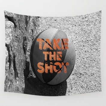 Vintage: Take the Shot Basketball Wall Tapestry by Quote Life Shop