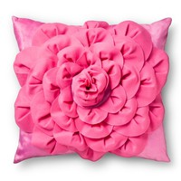 "3D Rose Decorative Pillow - Pink (14""x14"")"