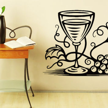Wall Decal Vinyl Cafe Kitchen Sticker Wine glass with Grapes Art Design Room Nice Picture Decor Hall Wall Chu1105