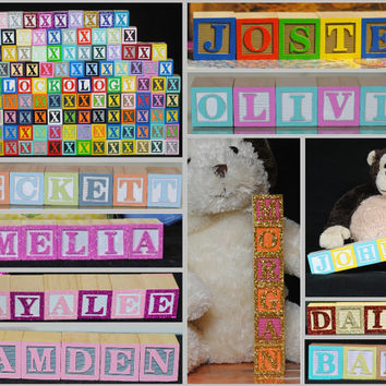 8 BLOCKS - Child's Name in Wooden Blocks, Nursery Blocks, Alphabet Blocks, Painted Blocks, Custom Name Sign, Wooden Letters, Painted Letters