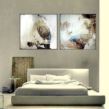 Abstract art Diptych -Double dream-Original  Painting - Acrylic - Palette Knife painting-wall art