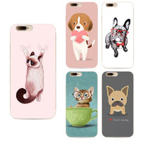 New Luxury Silicone cartoon animal Style cases cover For Iphone 7 case silicone French bulldog Phone Cases