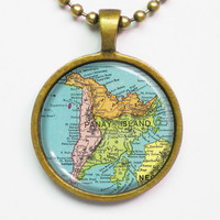 Phillipine Panay Island Necklace - Vintage Phillipine Map- Custom Vintage Map Series