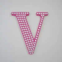 BLING LETTERS - Handpainted Wall Letter Covered w/ Clear Rhinestones - 8 inch