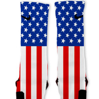 America USA Patriotic Custom Nike Elite Socks