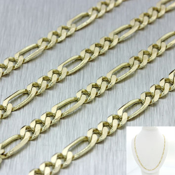 "Men's Women's Italy 14k Solid Yellow Gold 24"" Figaro 4mm Link Chain Necklace 15g"