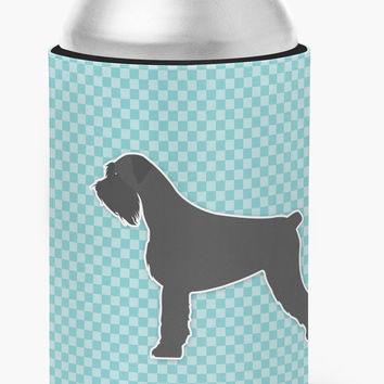Giant Schnauzer Checkerboard Blue Can or Bottle Hugger BB3773CC
