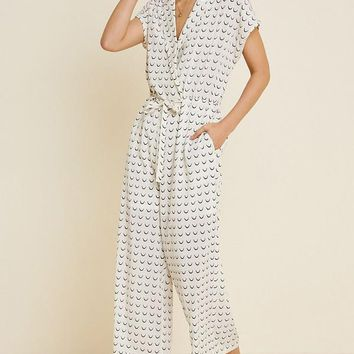 Collared Wide Leg Print Jumpsuit