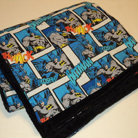 BATMAN BABY Blanket, Superhero Baby Blanket, Minky and Cotton, Stroller Blanket.