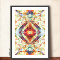 Geometric Art Tangram Print. Abstract Wall Decor Poster. Smooth Explosion of Colors - Modern Wall Art A3