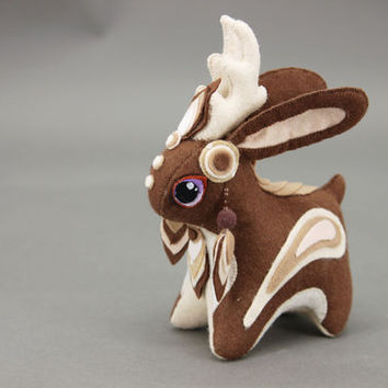 Jackalope Bunny Rabbit Plush Soft toy fantasy plushies animal textile toys Soft sculpture children, fabric toy, handmade, favorite toy