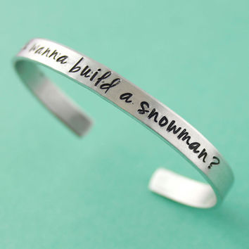 Do You Wanna Build A Snowman - Frozen Inspired Cuff Bracelet - Disney - Frozen Bracelet