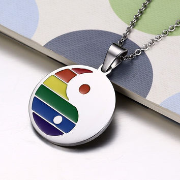 Rainbow Ying Yang Necklace and Pendant