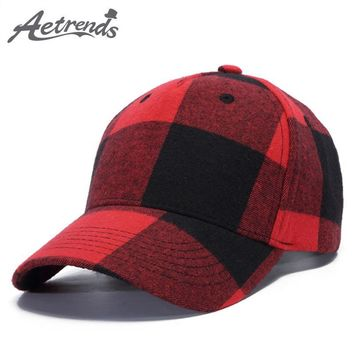 Trendy Winter Jacket [AETRENDS] 2018 New Plaid Baseball Cap Men or Women Outdoor Sport Bone Caps Snapback Hats Z-6305 AT_92_12