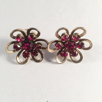 Vintage Floral Earrings, Red Glass Centers, Vintage Jewelry, Converted To Pierced