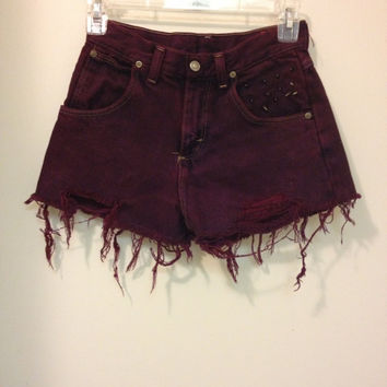 Maroon Spiked High Waisted Shorts
