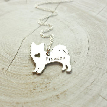 Hand cut Long Haired Chihuahua pet silhouette necklace, chihuahua, dog necklace, personalized, engraved, long haired chihuahua, silver