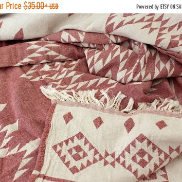 SALE Southwestern Blanket | Navajo Throw Blanket | Aztec Ethnic Beach Picnic Blanket | Burgundy Dobby weave organic cotton | College Student
