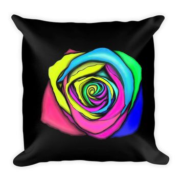 Multicolor Rose Throw Pillow 2