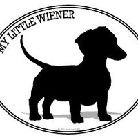 Dog Decal - DACHSHUND - MY LITTLE WIENER - I Love my Dachshund Wiener dog-Bumper Sticker Decal.