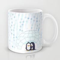 Lottle Penguins In Igloo Snowing Mug by Lottle