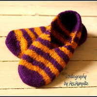 Unique Felted Slippers - Size US5/7 EU37/39, purple and yellow stripes, 100% virgin wool, knitted and felted