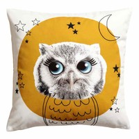 Cushion cover with print motif - Mustard yellow/Owl - Home All | H&M GB
