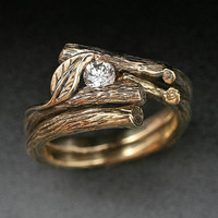 KIJANI WEDDING SET Engagement Ring and matching by BandScapes
