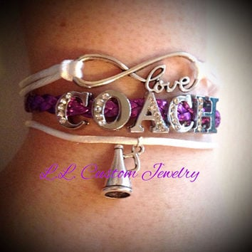 Infinity & Love COACH Rhinestone Letters and Cheer Charm Bracelet - Football, Dance, Hockey