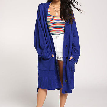 Royal Blue Pocket Button Down Longlined Cardigan