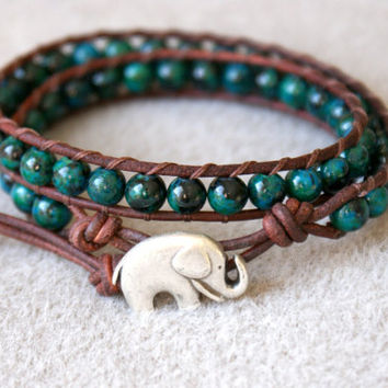Chrysocolla Bohemian beaded leather wrap bracelet, 2x, boho chic, Good Luck elephant, Chan Luu style, brown, green, blue, trendy jewelry
