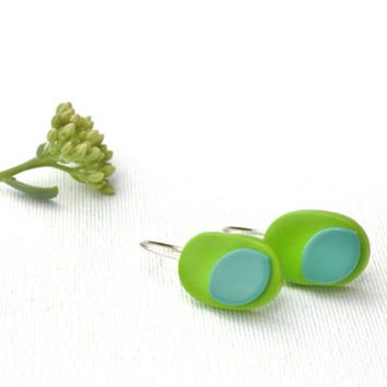 Lime teal fimo earrings colorful polymer clay jewelry funky abstract earrings