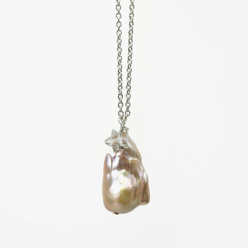 Pretty Baroque Pearl Jewelry, Asymmetrical Freshwater Pearl Necklace on Stainless Steel Chain, Gift Idea