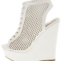 ELIZA50 WHITE OPEN TOE LASER CUT PERFORATED WEDGE