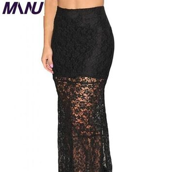 Sexy Womens Black Flower Lace Maxi Cocktail Party Long Skirt Bodycon Pencil Summer Hollow Out Slit Skirts 6XL 7XL Plus size