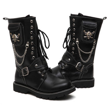 Warmth Winter Men Shoes Low Heeled Individuality Mens Boots Belt Stylish Tie Up Chains Funky Korean Thread Skull Gothic