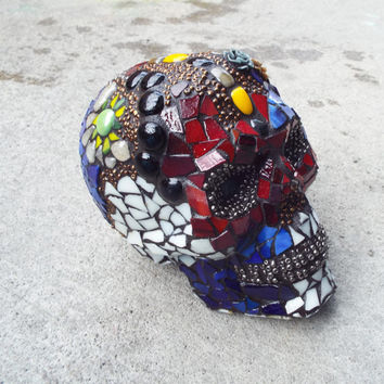 Custom Made Sugar Skull, Made to Order, Day of the Dead Skull, Steampunk Skull, Mosaic Sugar Skull