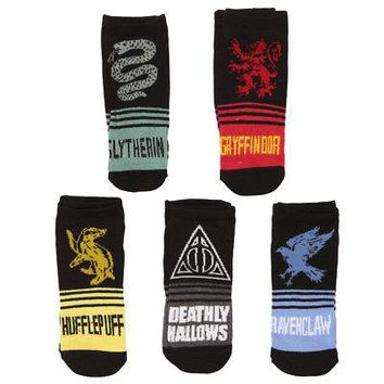 Harry Potter Deathly Hallows Houses No Show Adult Socks - 5 Pack - Black