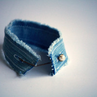 Shabby Denim Cuff with Vintage Cuff Link Closure - Upcycle - OOAK