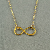Beautiful INFINITY Necklace, 24K Gold Vermeil Charm, 14K Gold Filled Chain, Modern, Simple, Pretty, Everyday Wear Jewelry