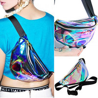 Rainbow Transparent Bag Punk FANNY PACK Punk Bum Bag Chic Hologram Purse Fashion Waist Pack